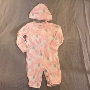 Carter's elephant bodysuit with hat
